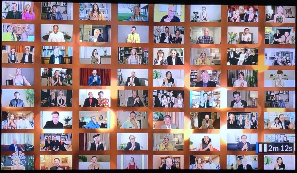 The nominees, all dressed-up at their homes or hotels, on the giant Zoom screen on stage. Photo by Karen Salkin, off the TV screen.