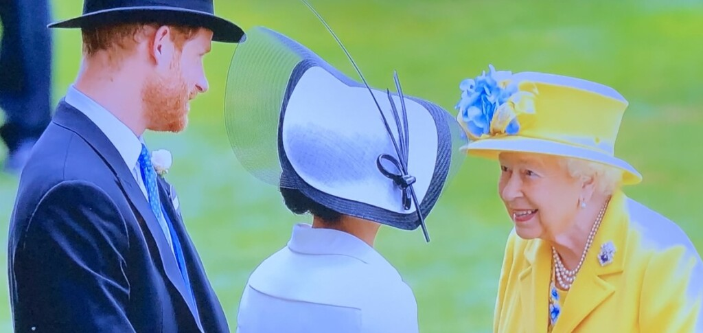 The Queen being lovely to Meghan, as always. Photo by Karen Salkin, off the TV screen.