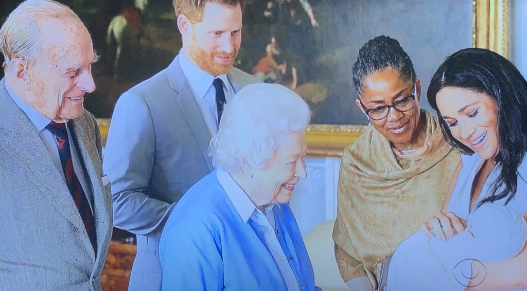 Does this look at all like the Queen and Prince Philip give even one whit about Archie's ethnicity???  Photo by Karen Salkin, off the TV screen.