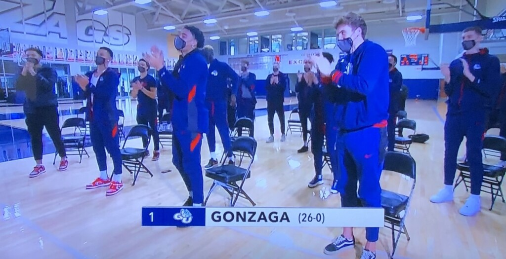 The undefeated (and I hope it stays that way) Gonzaga Bulldogs, receiving their official designation as the #1 seed overall.  Photo by Karen Salkin, from the TV screen.