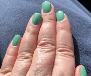 My green St. Patty's nails, (which will also double for celebrating Spring's arrival this week-end.) Photo by Karen Salkin's right hand.