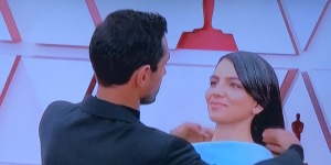 My absolute favorite moment of the night!  Riz Ahmed fixing his bride's hair for red carpet pix!  OMG!  You've got to love this man.  Photo by Karen Salkin, (off the TV screen.)
