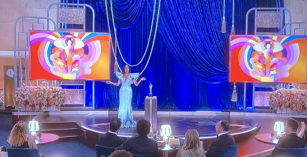 Regina King opening the very odd show. Photo by Karen Salkin, (off the TV screen.)
