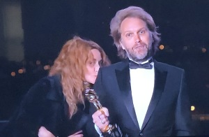Writing winner Florian Zeller accepting from Paris, with his wife running in for a quick kiss.  So French!  Mr. X and I loved it!  Photo by Karen Salkin, (off the TV screen.)