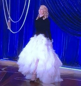 Laura Dern and her crazy gown. But doesn't it look better when you see the shoes with it, in motion? Photo by Karen Salkin, (off the TV screen.)