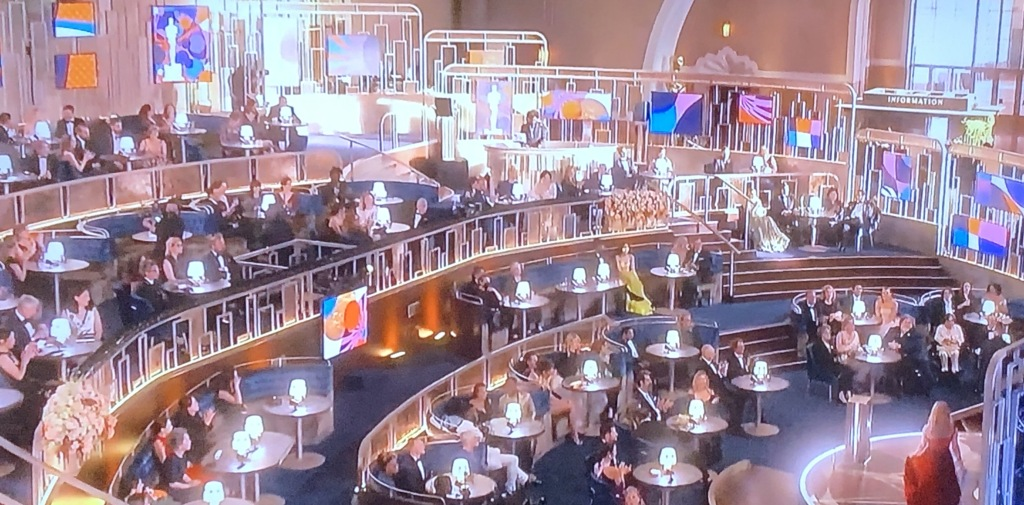 The room in Union Station where the 2021 Oscars took place, which Elton John likened to a Starbucks!  Photo by Karen Salkin, (off the TV screen.)