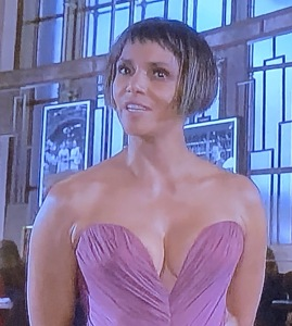 Halle Berry.  Has she no mirrors in her house?  I honestly would have thought this is a bad celebrity look-alike. Photo by Karen Salkin, (off the TV screen.)