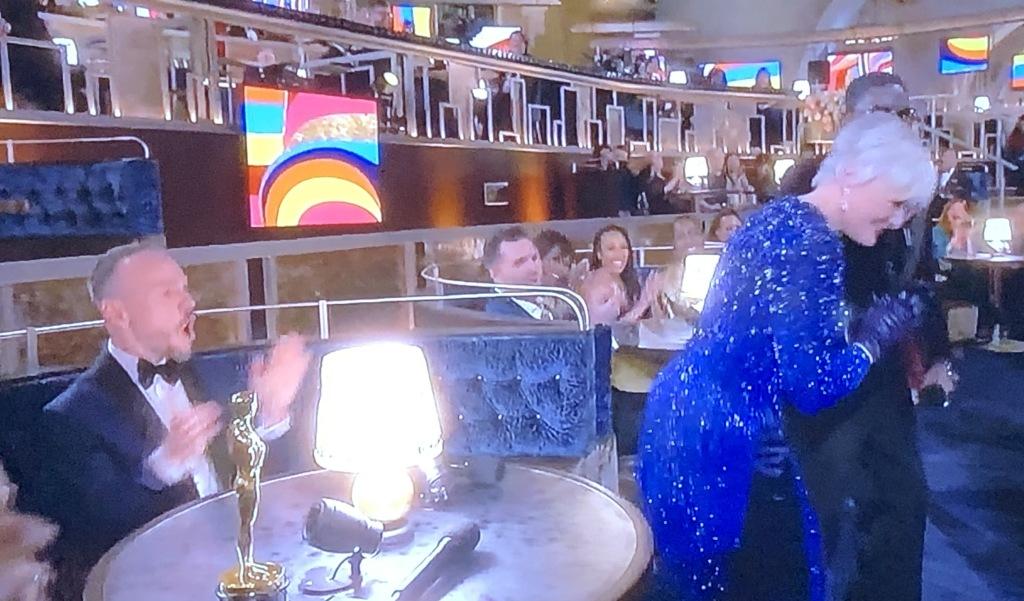 Glenn Close, doing Da Butt!!!  Photo by Karen Salkin, (off the TV screen.)