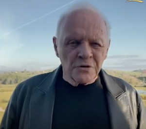 """Anthony Hopkins """"acceptance speech""""  the next day from his home in Wales. Photo by Karen Salkin, (off the TV screen.)"""