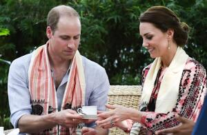 Two of the Royals, William and Kate, taking tea, most likely with honey and milk.