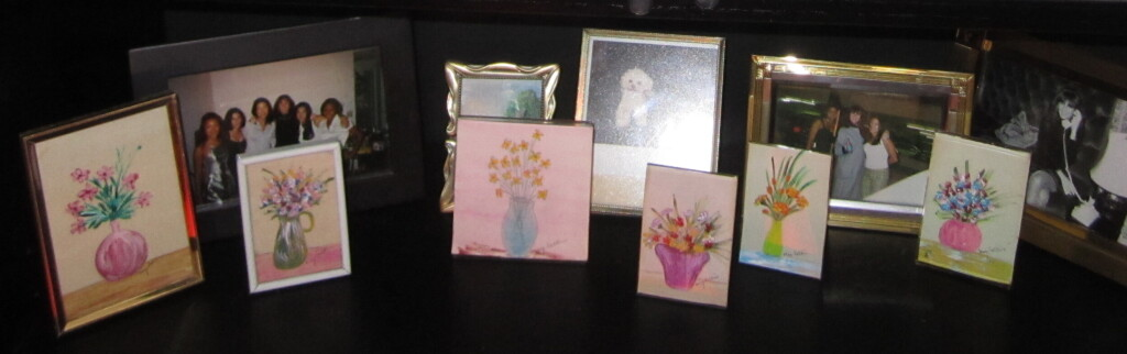 """A sextet of miniature watercolor paintings by May Rose Salkin, proudly displayed in one of Karen Salkin's """"precious possessions"""" areas. Photo by Karen Salkin."""