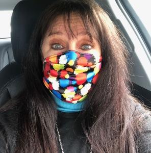 Karen Salkin rocking her colorful mask.  Photo by Karen Salkin.