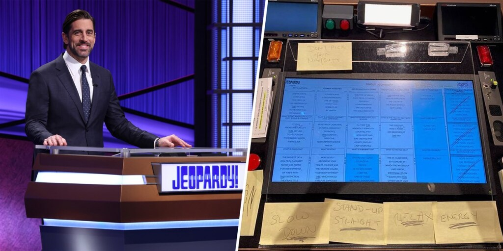 """Aaron Rodgers' Jeopardy podium, featuring sticky notes to himself. One of them should have read, """"Get a personality!!!"""""""