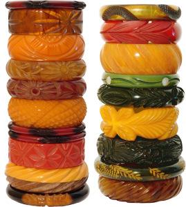 Retro Bakelite bracelets.