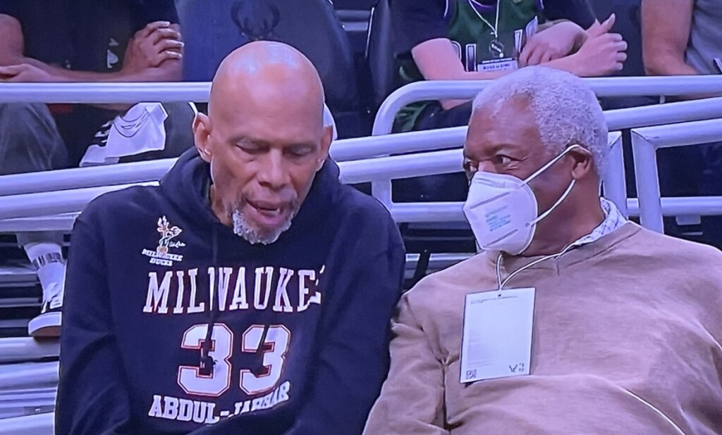 NBA legends Kareem Abdul-Jabbar and Oscar Robertson, the stars of the old school Milwaukee Bucks, who won the 1971 Championship, watching Game 4 in the arena. Photo by Karen Salkin, off the TV.