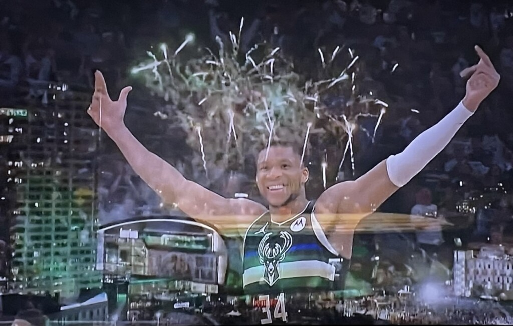 Photo of Giannis Antetokounmpo by Karen Salkin, off the TV, and composed by her.