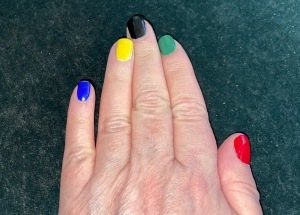 Karen Salkin's nails, in the five colors of the Olympic rings. Photo by Karen Salkin's right hand.