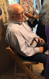 Ed Asner at the A Star Shines For Survivors event, holding the cane he tapped me with!  Photo by Karen Salkin.