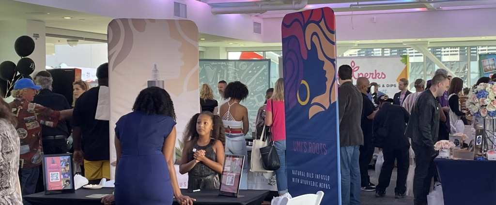 Just a tiny bit of the action at Secret Room Events' Pre-Emmys Lounge.  Photo by Karen Salkin.