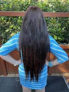 Karen Salkin's pandemic-length hair, which proves how long she's stayed at home!  Photo by Mr. X.